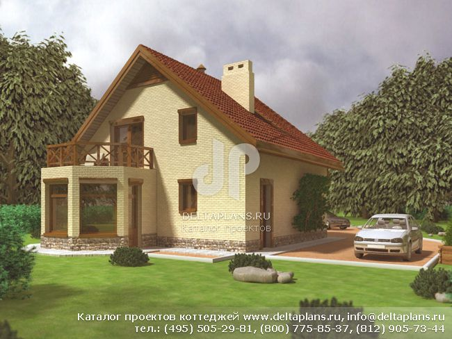 Пенобетонный дом. Проект № D-129-1P
