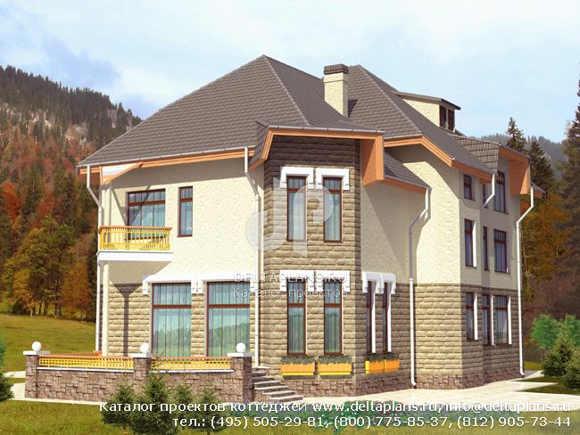 Пенобетонный дом. Проект № D-387-1P