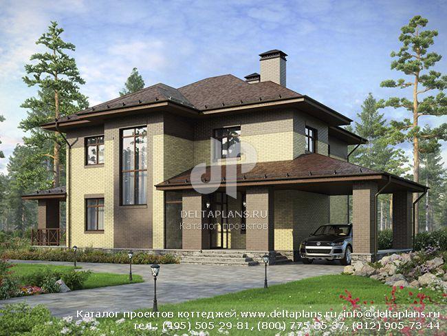 Проект красивого дома из поризованного камня № F-211-1K [AV300]