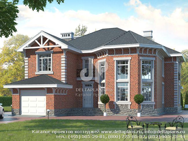 Проект кирпичного дома с гаражом, цокольным этажом, баней D-068-K