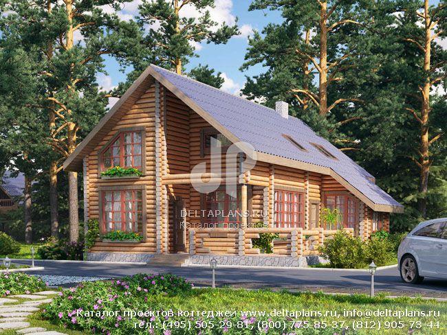 Деревянный дом. Проект № Q-148-1D