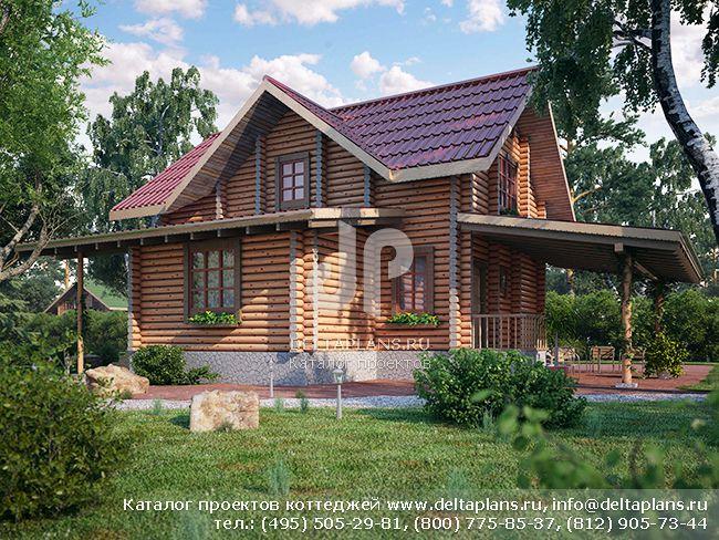 Деревянный дом. Проект № Q-159-1D