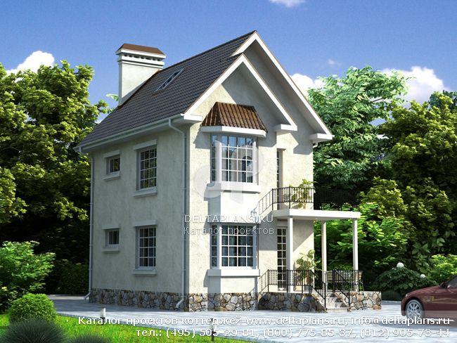Узкий дом с террасой № W-082-1K