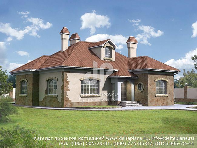 Проект одноэтажного кирпичного дома № W-145-1K [34-68]