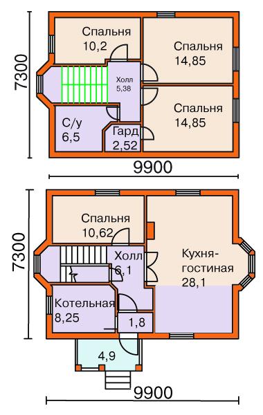 Уважаемый Pentagon, Вариант проекта коттеджа из пенобетона M-100-1P общей площадью 112,1 м2
